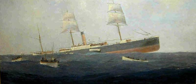 The Sinking of SS Koning der Nederlanden oil painting by J. Eden 1881 1